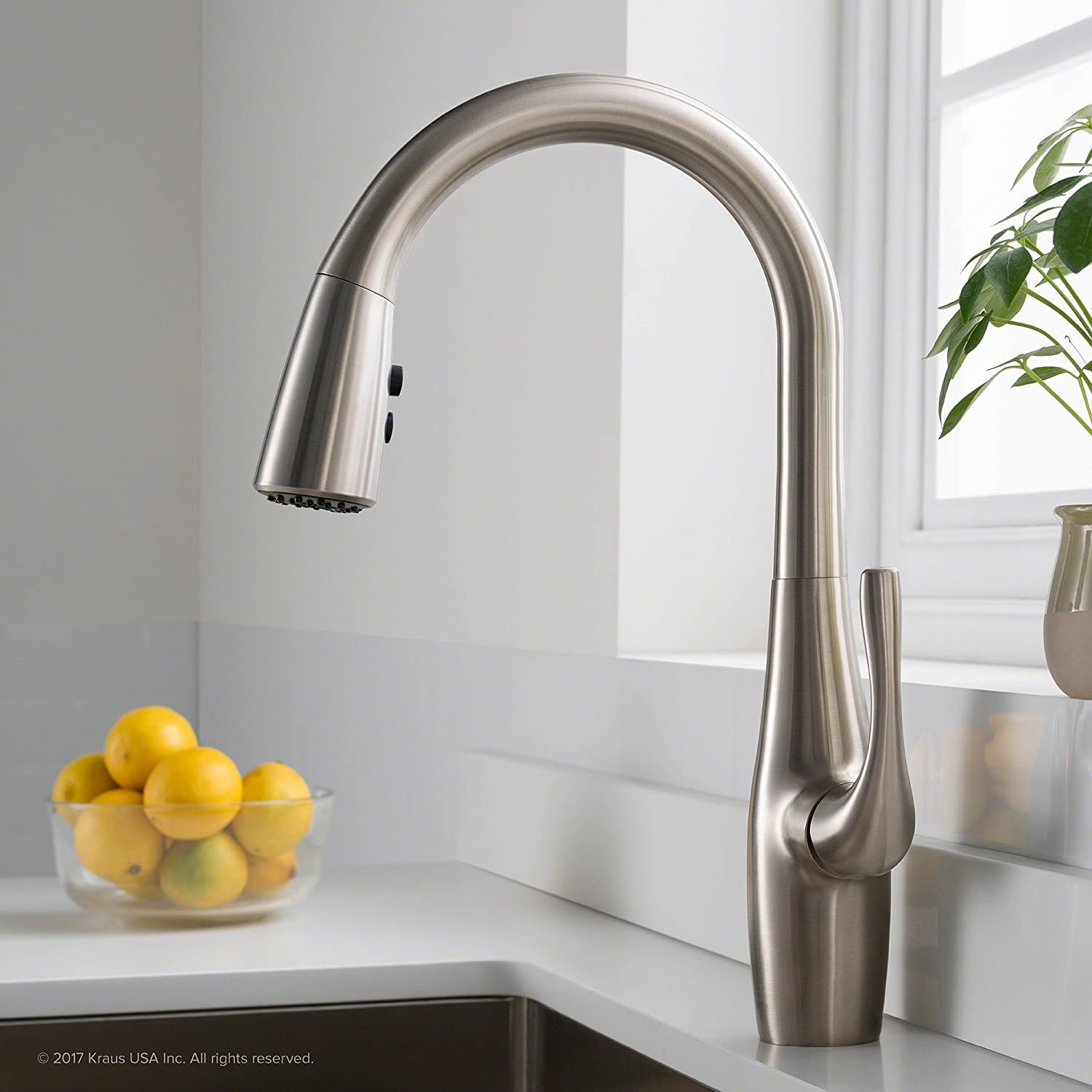 Kraus KPF-1670SFS Esina Single Handle Pull Down Kitchen Faucet with ...