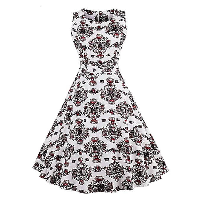 New Plus Size Flamingo Print Vintage Dress Women Pin up Robe ...