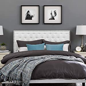 Modway Helena Tufted Button Linen Fabric Upholstered King and California King Headboard in White