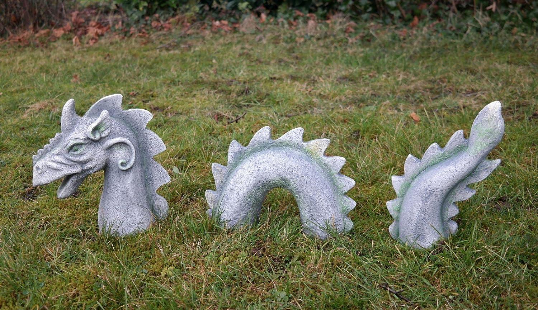 XXL Grande 3 partes Dragón Faris Dragon Figura Jardín Jardín Figura: Amazon.es: Jardín