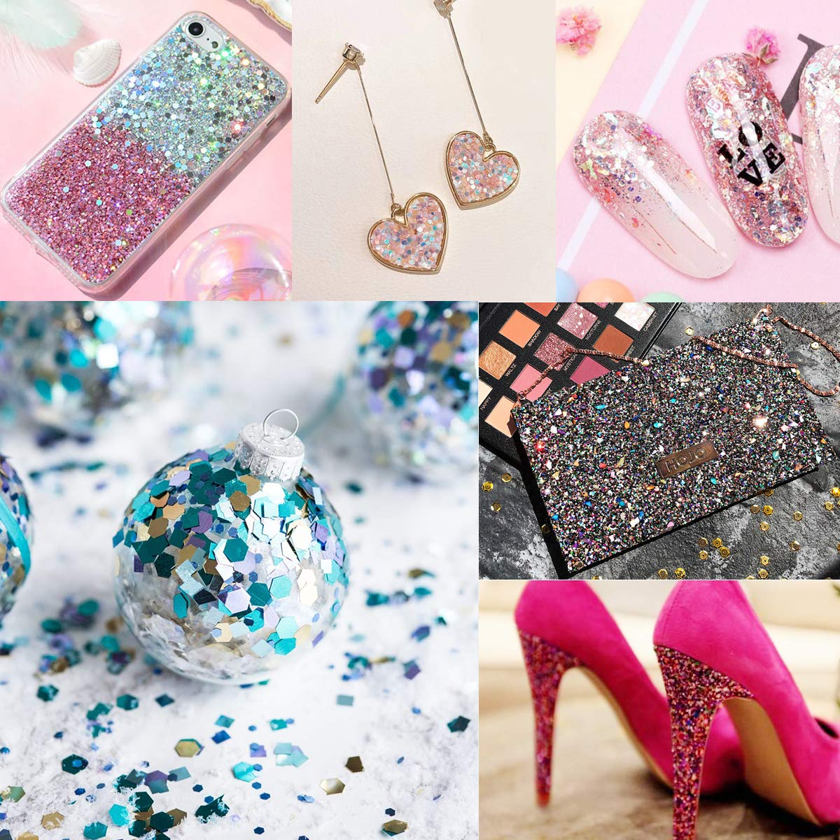 Face Glitter Body Glitter 6 Colors Nail Art Glitter Chunky Glitter with Long Lasting Gel for Cosmetic Party, 6 Boxes