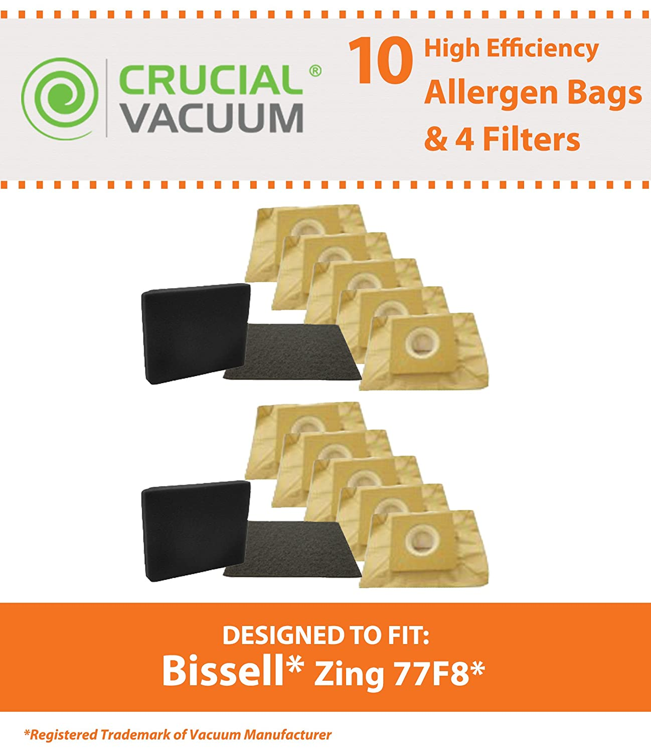 Replacement for Bissell Bags (10) & 4 Filters Fit Zing 22Q3 Vacuums, Compatible With Part # 77F8, By Think Crucial Crucial Vacuum