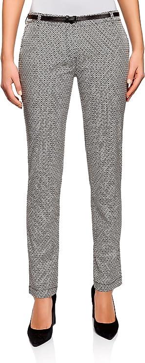 oodji Ultra Mujer Pantalón Chino con Cinturón, Blanco, ES 34 / XXS: Amazon.es: Ropa y accesorios