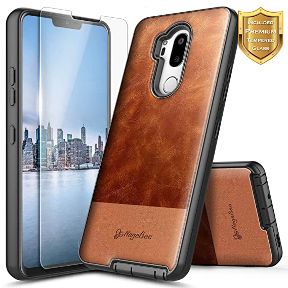 LG G7 Case, LG G7 ThinQ Case w/[Tempered Glass Screen Protector], NageBee Premium [Cowhide Leather] Snap-On Heavy Duty Shockproof Dual Layer Hybrid ...