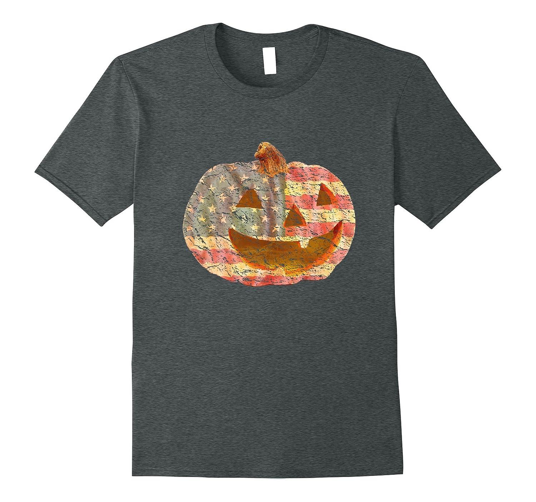 American Flag Jack-O-Lantern Tee Shirt-FL