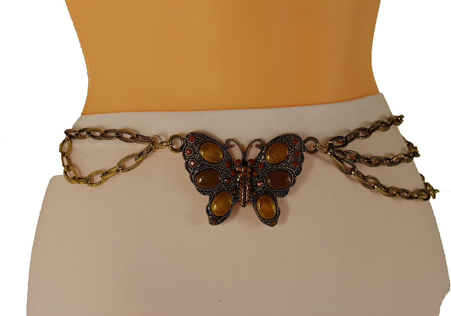 Women Wide Belt Hip Waist Gold Brown Metal Chain Butterfly Charm Fashion S M L