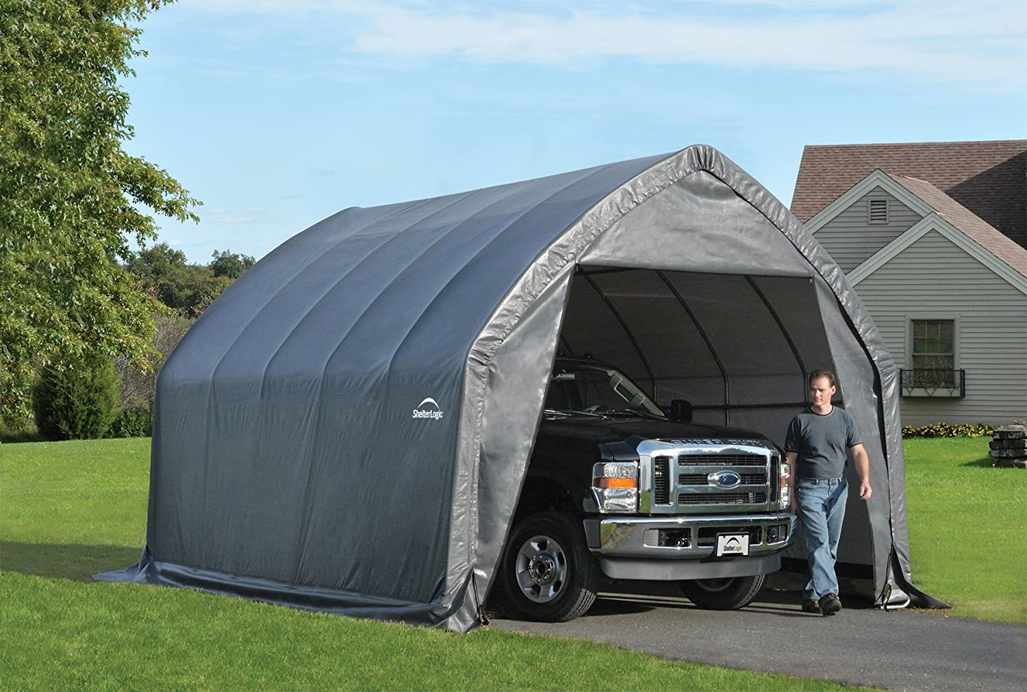 ShelterLogic Garage-in-a-Box SUV/Truck Shelter, Grey.