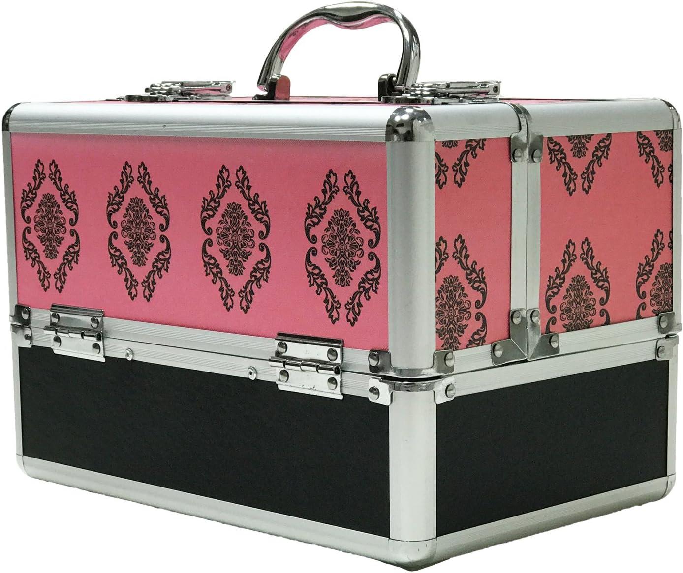 Grande color rosa damasco profesional aluminio belleza cosméticos caja make Up Case: Amazon.es: Salud y cuidado personal