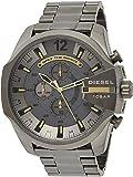 Diesel Mega Chief Men's Grey Dial Stainless Steel Analog Watch - DZ4466