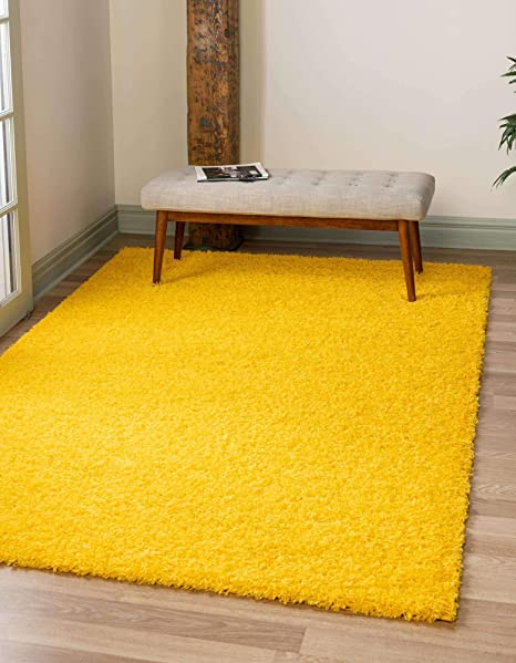 Amazon Com Unique Loom Solo Solid Shag Collection Modern Plush Tuscan Sun Yellow Area Rug 4 0 X 6 0 Furniture Decor
