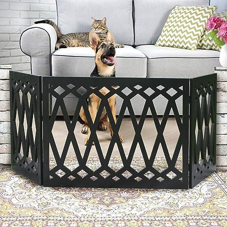 Etna - Puerta de madera para mascotas con diseño de diamante de 3 paneles - valla decorativa negra