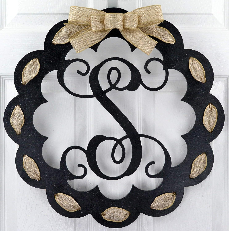 Letter S - Monogrammed Door Hanger | Mom Gift | Black and Burlap Everyday Year Letter Door Hanger
