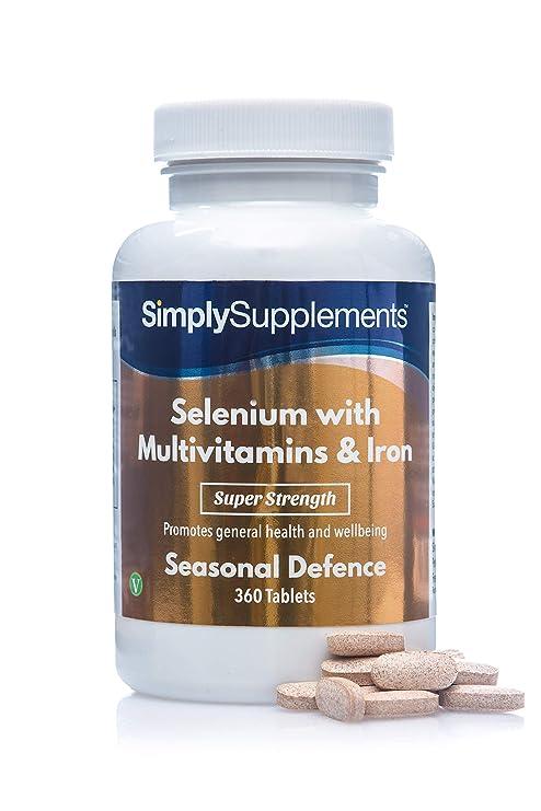 Selenio 220 mcg con Multivitaminas y Hierro - ¡Bote para 1 año! - 360 Comprimidos - SimplySupplements