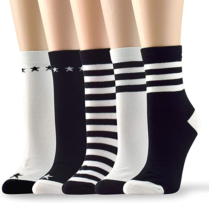 $18 PINK SOX VALUE PACK 6 PAIRS SET GRAY BLACK WOMEN/'S CREW SOCKS STRETCHY SOFT