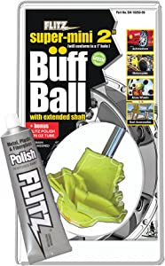 Flitz Buff Ball Car Buffer Drill Attachment with Self-Cooling Design That Never Scorches or Burns + No Exposed Hardware to Prevent Scratches, Buff and Polish Any Surface, Machine Washable, 2 Inch