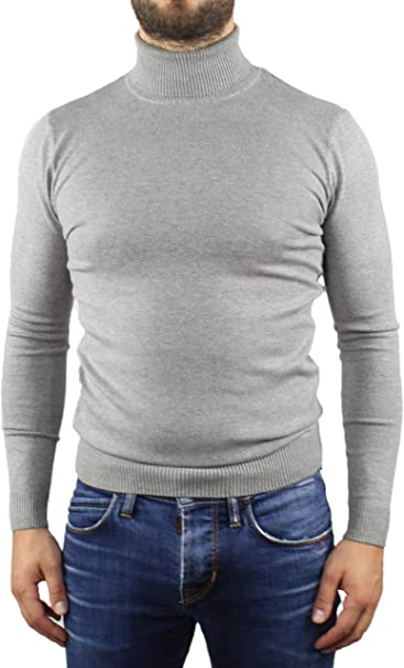 Maglione Dolcevita Uomo Maglia Pullover Slim Fit Aderente Collo Alto