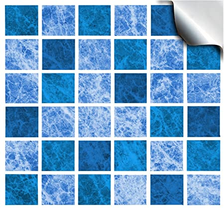 24 Oceana Flat Printed Kitchen Bathroom Tile Stickers For 150mm - Blue-bathroom-tile-stickers