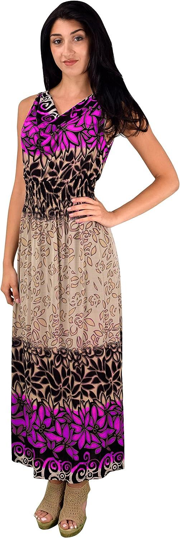 Peach Couture Women Casual Vinatge Boho Sleeveless Floral Summer Long Maxi Dress