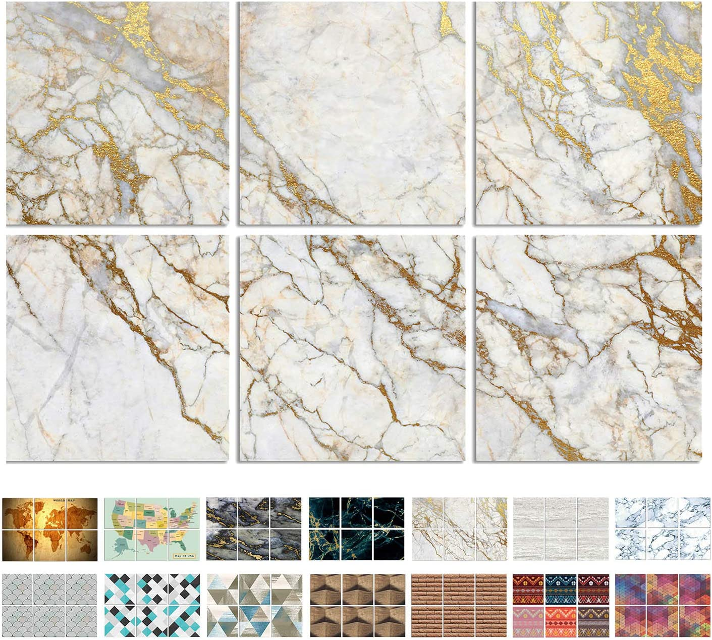 """BUBOS Marble Pattern Acoustic Panels,NRC Sound Proof Padding Wall Panels,Acoustic Tiles, Good for Soundproofing and Acoustic Treatment,Beveled Edge,12""""x12""""x0.4"""",6Pcs,Platinum Marble"""