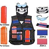 Veste Tactique Elite Set, Diealles Gilet Tactique pour Enfants Nerf N-Strike Elite Séries (Inclus Gilet Tactique+40PCS Fléchettes Souples+2PCS Chargeurs de 12 Fléchettes+Bracelet+Lunettes de Protection+Masque)