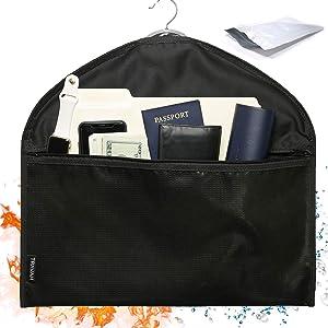 Diversion Hanger Fireproof Safe | Hidden Stash Compartment for Valuables | Hide Personal Items for Home or Travel | Water Resistant Secret Document Holder Zipper Pouch | Bonus Smell Proof Bag & Hanger