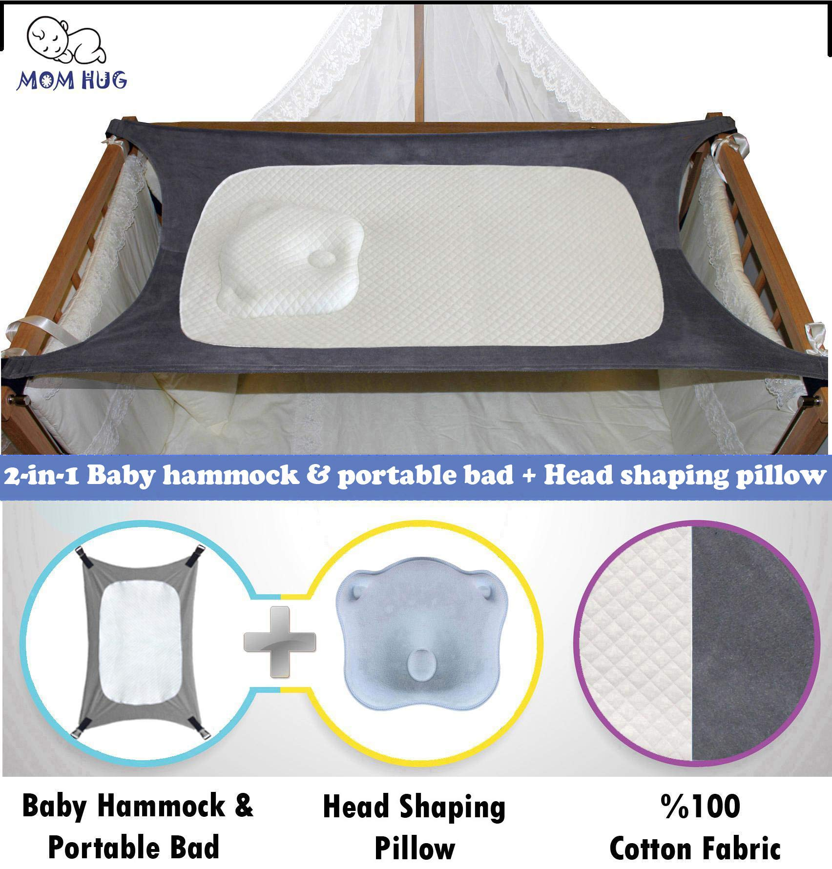 2-in-1 Head Shaping Pillow Backed Newborn Baby Hammock for Crib and Portable Bed,%100 Cotton Comfortable,Strong Safety Measures Quality Assured Breathable Enhanced Nursery Womb Bassinet