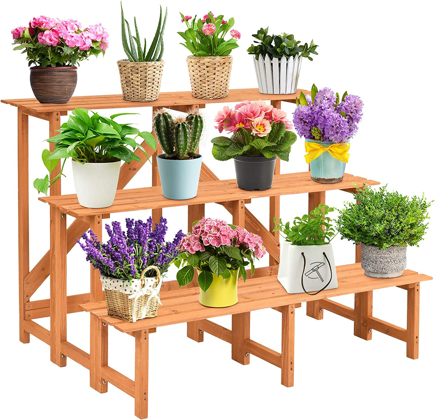 Giantex 3 Tier Plant Stand Flower Pot Holder Wide Display Rack Stand With Step Design Yellow Garden Outdoor