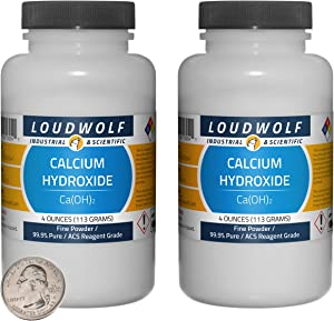 Calcium Hydroxide / 8 Ounces / 2 Bottles / 99.9% Pure Food Grade/Fine Powder/USA