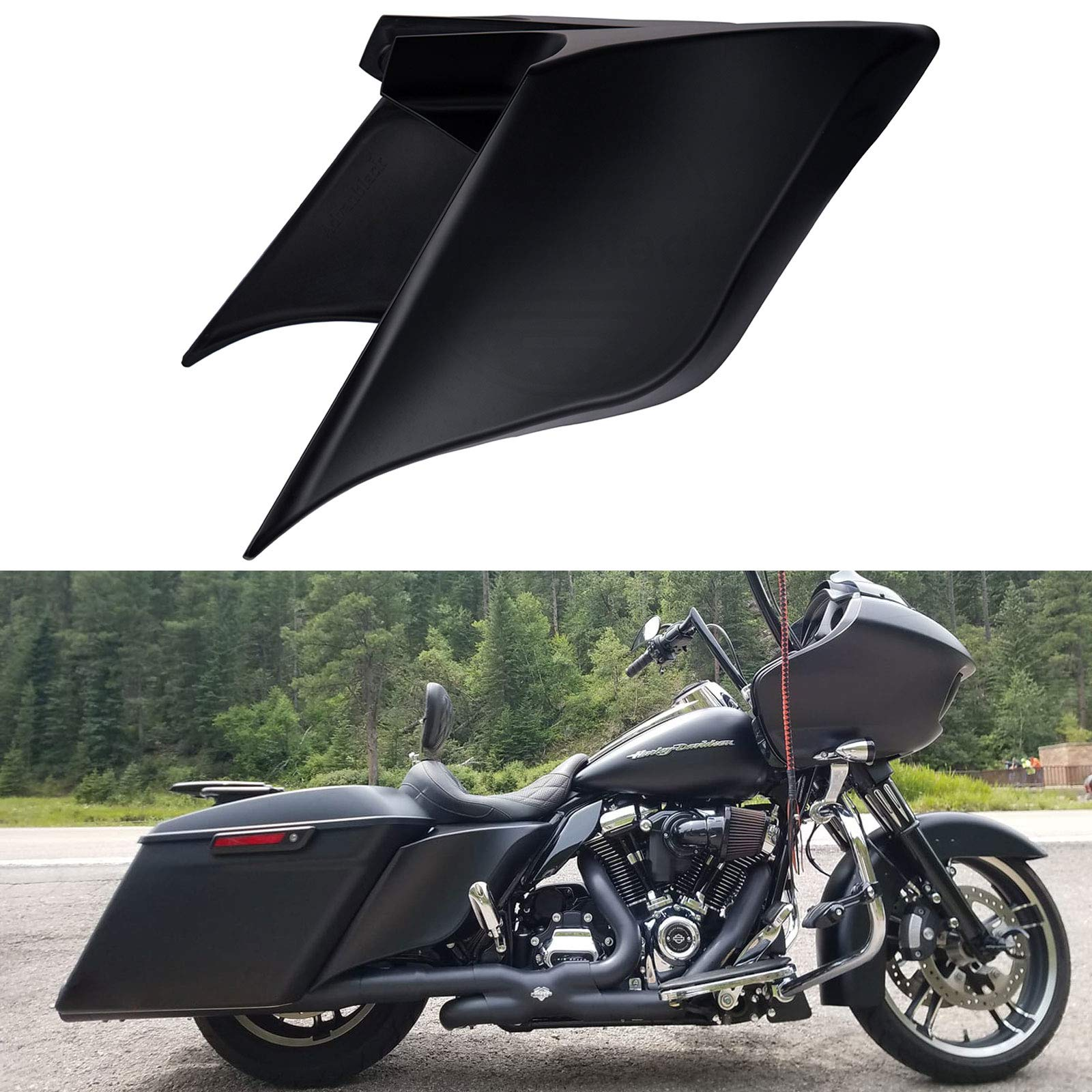 US STOCK! Advanblack Denim/Matte Black Extended Side Covers Stretched Panels Fit for Harley Davidson Touring Street Glide Road Glide 2014 2015 2016 2017 2018 2019
