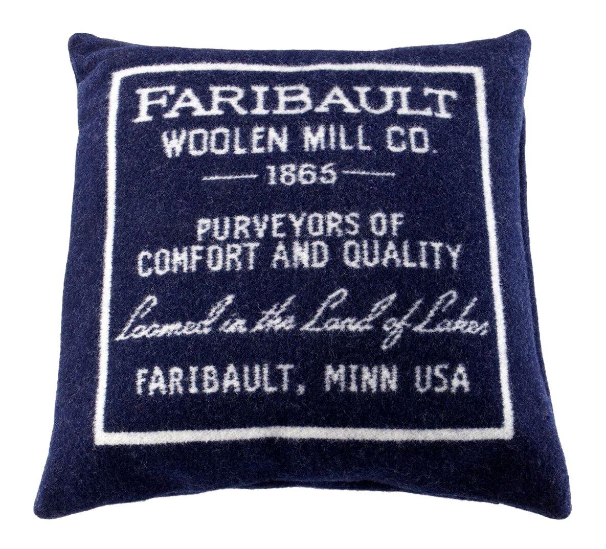 Faribault Woolen Mill Logo Pillow, Navy