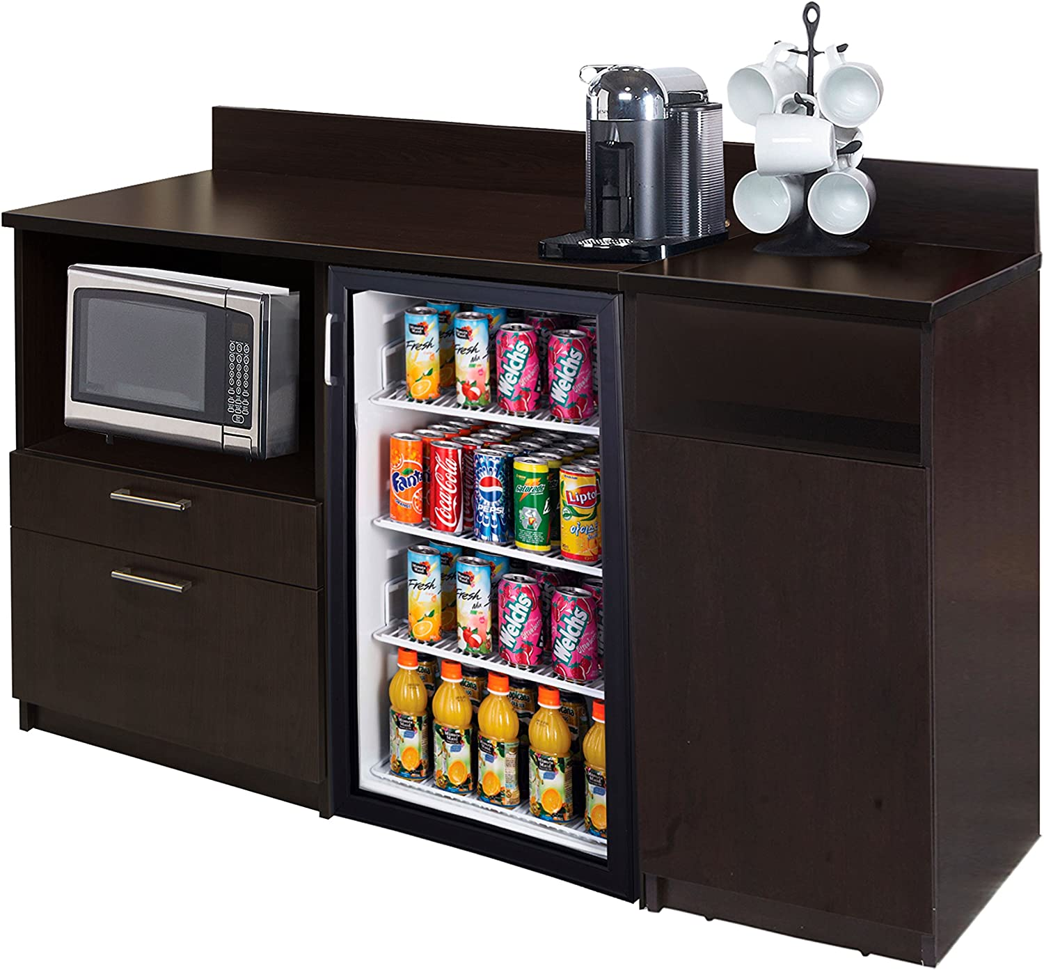 Breaktime 2 Piece 3285 Coffee Kitchen Lunch Break Room Furniture Cabinets, Fully Assembled, Ready to Use, Espresso