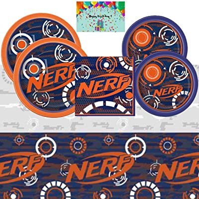 Nerf Birthday Party Supplies Pack for 16 - Lunch and Dessert Plates, Napkins, Table Cover Bundled with Custom Birthday Card By JPMD Party House: Toys & Games