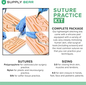 Suture Practice Kit for Sutures Training Medical Student | Needle, Thread, Pre-Cut Wounds for Education, First Aid Emergency & Trauma. Surgical Instruments for Nursing & Vet Students.