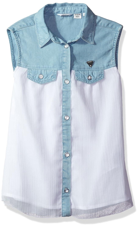 GUESS girls Big Girls Sleeveless Denim and Chiffon Shirt J73H00D2LE0