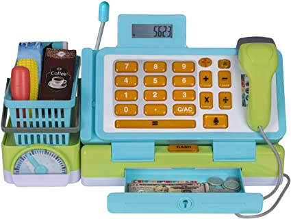 blue Cash Register  Electronic working calculator 10 grocery,cash,card