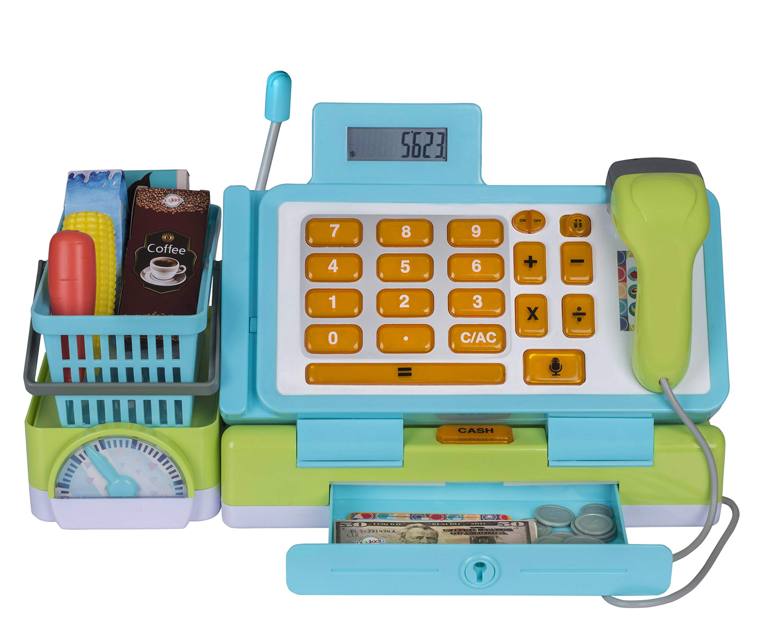 Playkidiz Interactive Toy Cash Register for Kids with Sounds and Early Learning Play, Includes Fake Money, Handheld Scanner, Shopping Basket, Food Boxes, Plastic Fruit and More. by Playkidiz