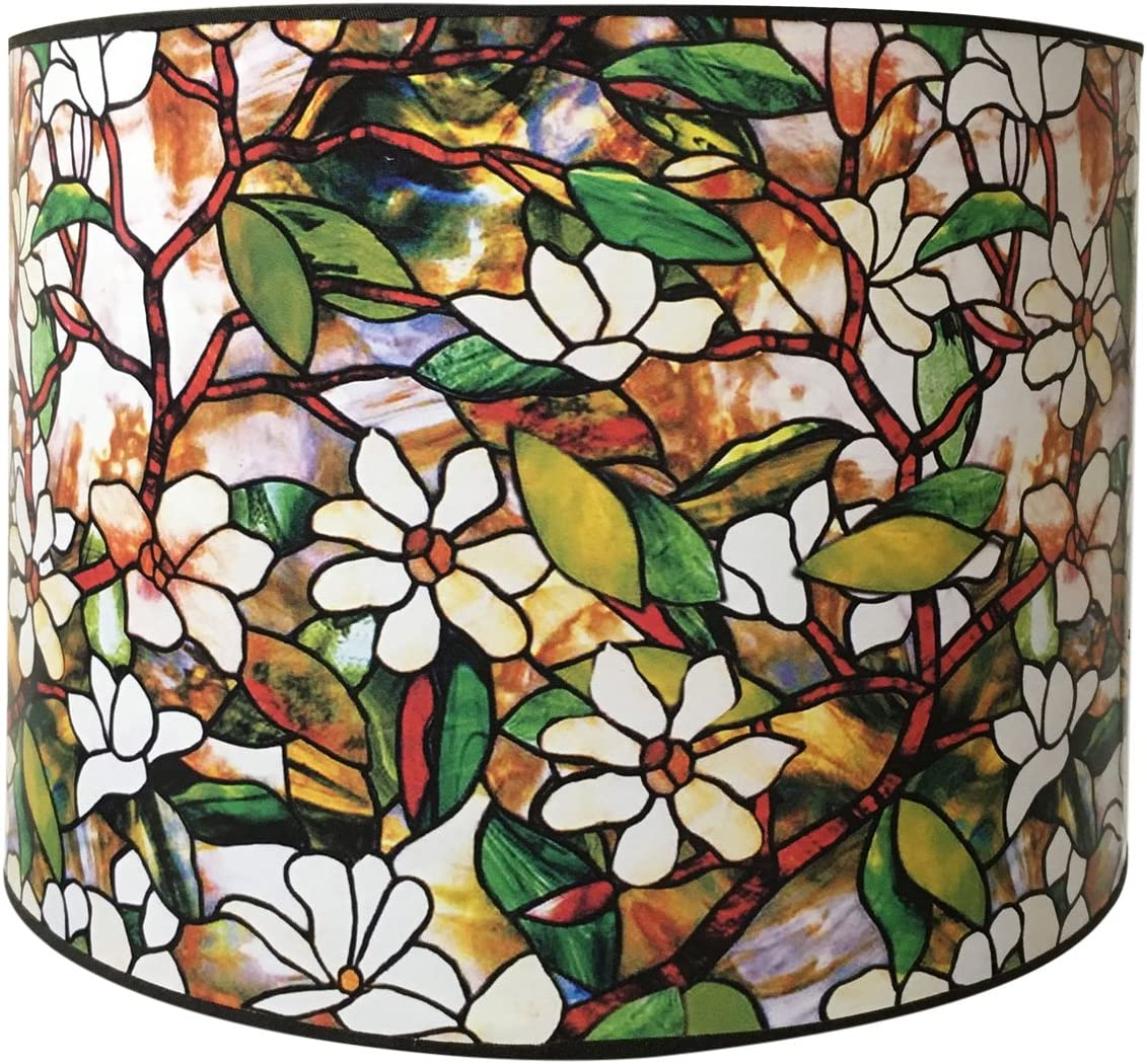 Royal Designs Modern Trendy Decorative Handmade Lamp Shade - Made in USA - Magnolia Stained Glass Design - 10 x 10 x 8