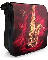 Shining Golden Saxophone On Red Velvet Small Black Canvas Shoulder Bag / Handbag