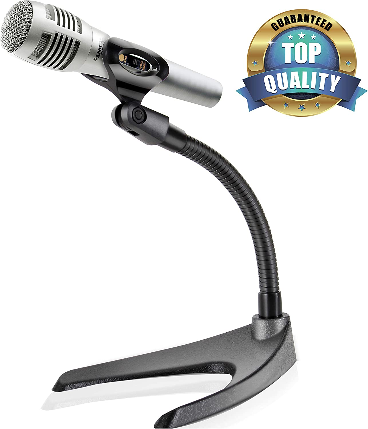 Pyle Desktop Microphone Stand - Universal Tabletop Mic Holder w/ Flexible 8.2'' Inch Gooseneck Mount and Solid U Shape Base - Perfect for Table Desk or Counter - PMKS8