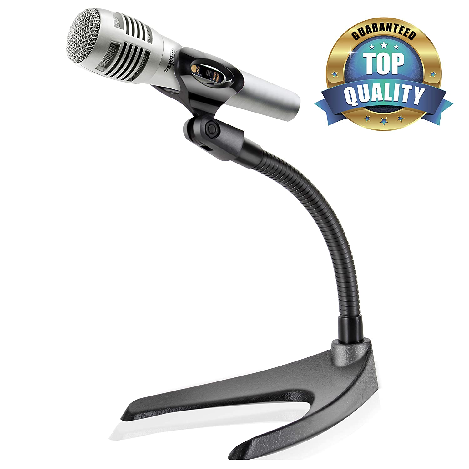 Amazing Pyle Desktop Microphone Stand Universal Tabletop Mic Holder W Flexible 8 2 Inch Gooseneck Mount And Solid U Shape Base Perfect For Table Desk Interior Design Ideas Clesiryabchikinfo