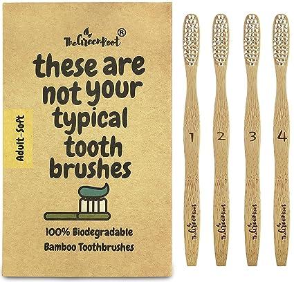 Pack de 4 cepillos de dientes de bambú con ángulo de 15 grados y pelo suave