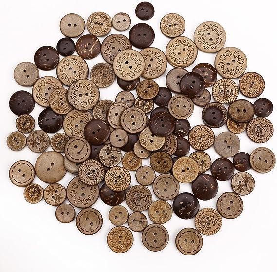 50pcs Holz Knöpfe 2 Löcher Krone Knöpfe zum Nähen Scrapbooking