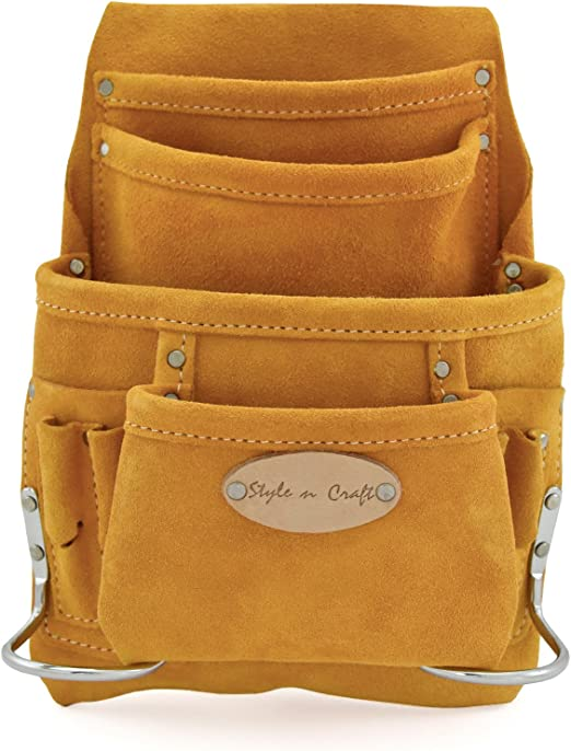 Style n Craft 92-924 10 Pocket Top Grain Tool Belt Pouch