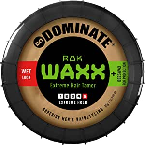 Dominate Rok Waxx Hair Styling Wax With Beeswax, Salon Series, Extreme Hair Hold With A Defined Wet Look, 85g