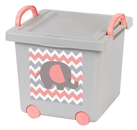 IRIS Baby Toy Storage Box, Gray/Pink