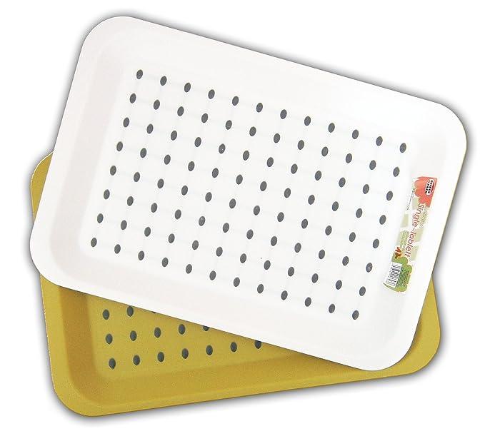 TABLETT mit Anti-Rutsch-Belag 33x23cm Kunststoff Weiss Grün Serviertablett 36