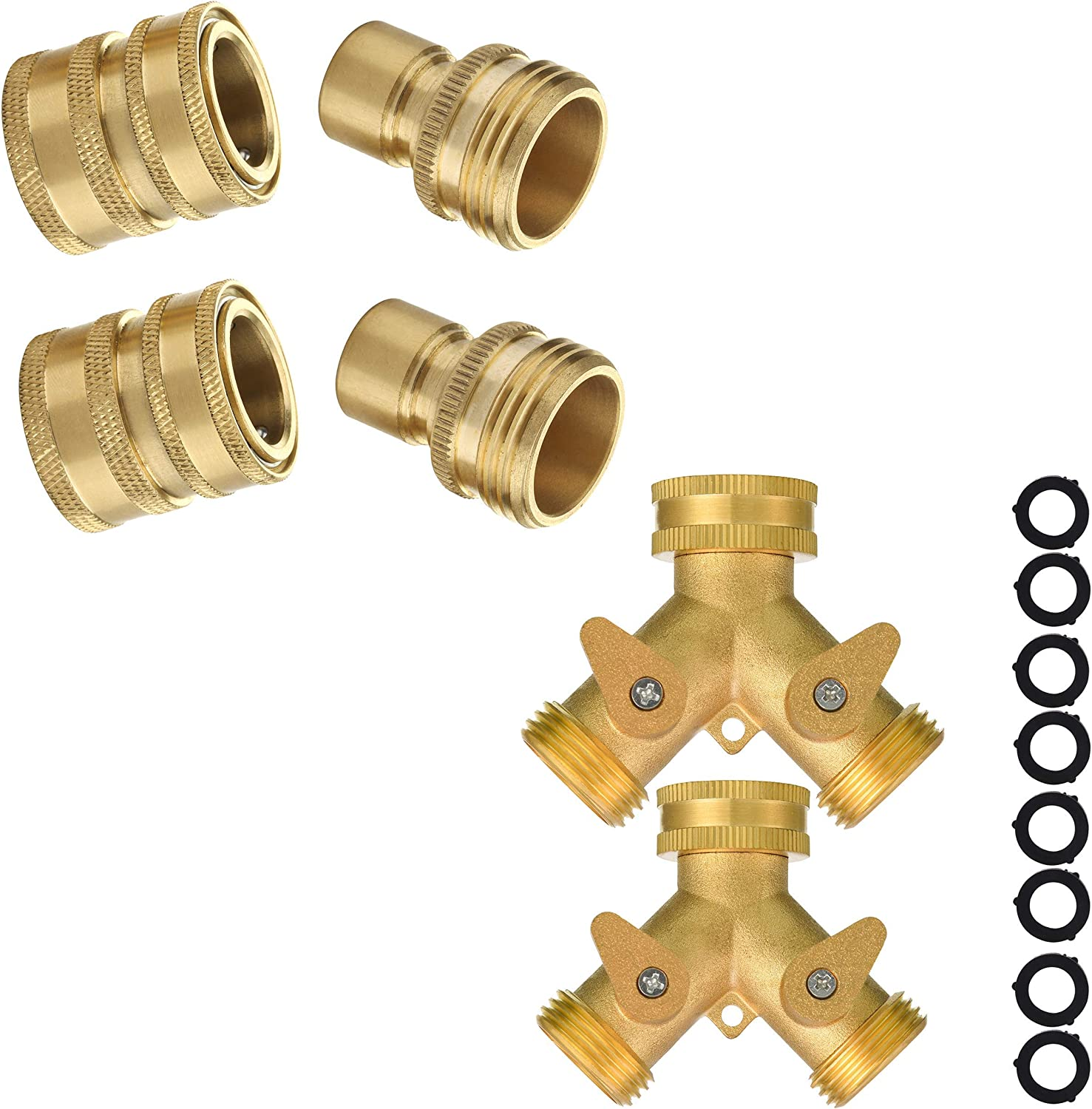 M MINGLE Garden Hose Quick Connect Fittings, Garden Hose Splitter 2 Way Heavy Duty, with Extra 8 Washers
