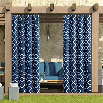 """HGmart Outdoor Patio Curtain Waterproof 50""""x84"""" Grommet Gazebo Porch Deck Curtains UV Ray Protected Fade Resistant and Mildew Resistant, Dark Blue 1 Panel : Garden & Outdoor"""