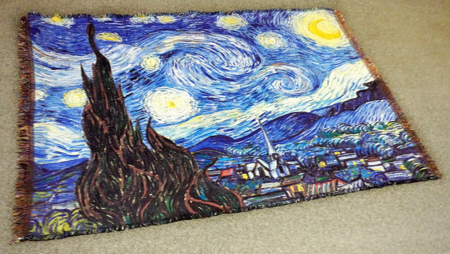 Vincent Van Gogh - Starry Night - Throw Blanket / Tapestry Wall Hanging (HD Woven, 70x54)