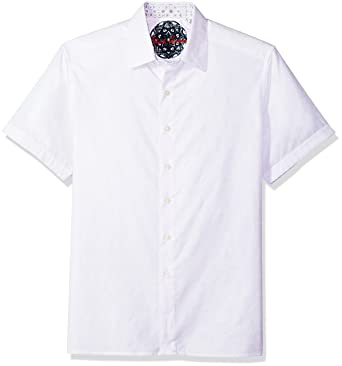 6684a565 Robert Graham Men's Cullen Squared Short Sleeve Classic Fit Button Down  Shirt, White, ...